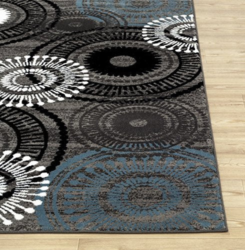 3807 Blue Gray Medallion Contemporary Area Rugs