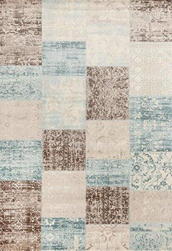 Beige Blue Patches Transitional Area Rugs