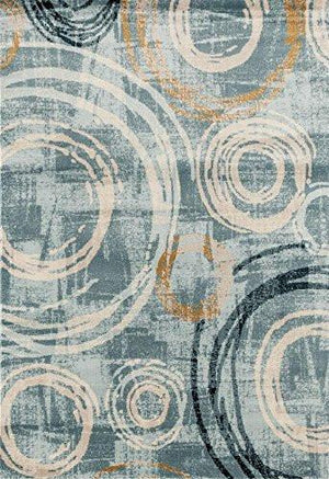 Blue Abstract Circles Modern Contemporary Area Rugs