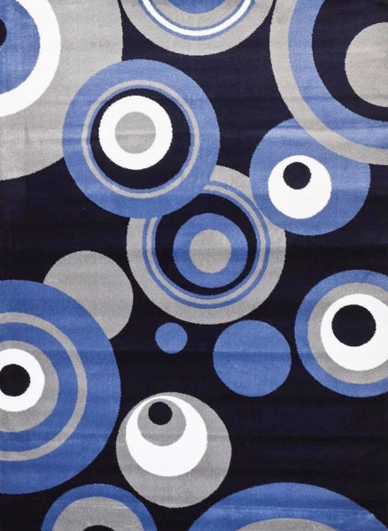 Modern Trendz Blue Geometric Contemporary Area Rugs