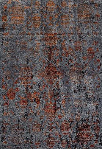 Gray Damask Vintage Distressed Area Rugs