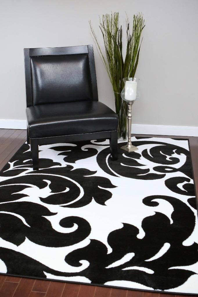Beverly Hills Black White Damask Rug Area Rugs Cheap Bargain