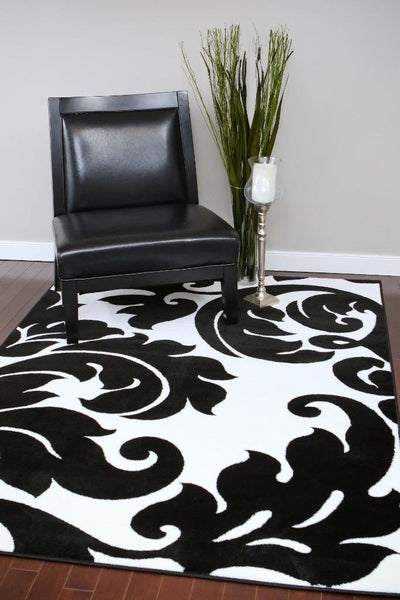 Black White Damask Transitional Area Rugs