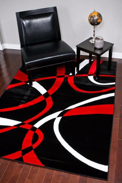 Modern Trendz Black Red Swirls Contemporary Rugs