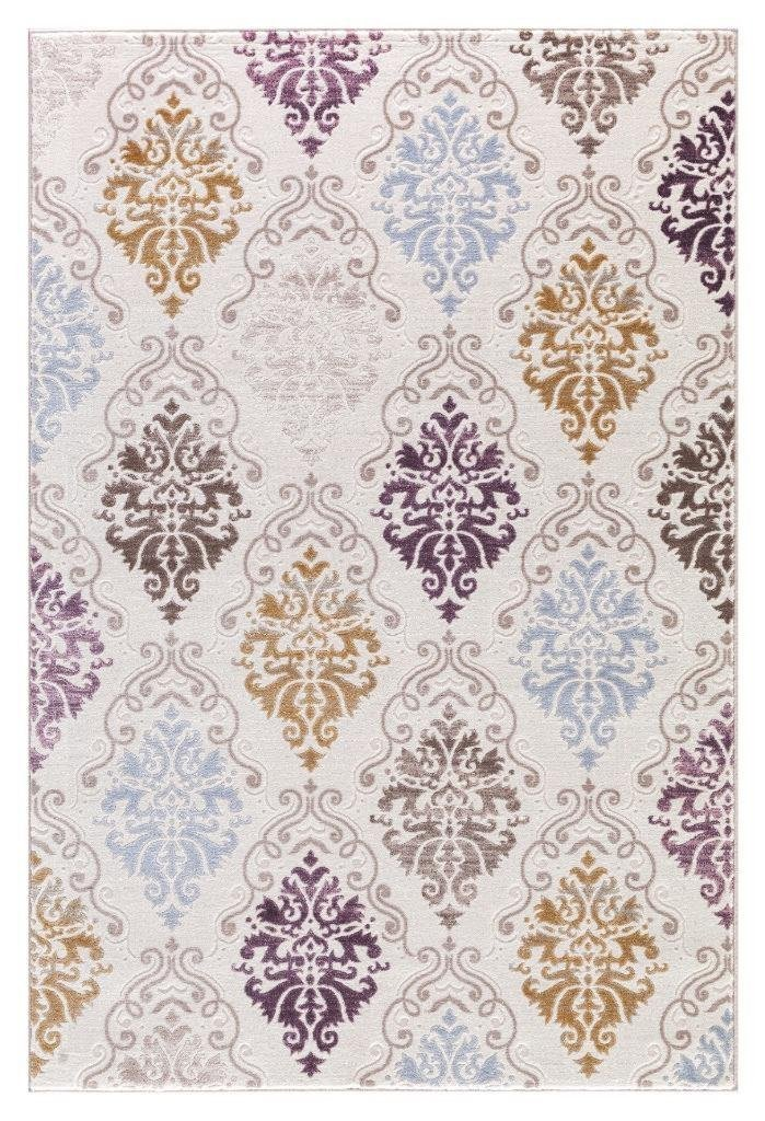 Beige Purple Gold Damask Panal Transitional Area Rugs ...