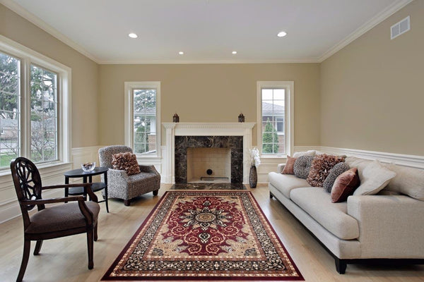 Red oriental rug medallion isfahan design discount for Living room 4x5