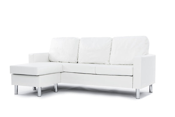 New Century® White Bonded Faux Leather Small Sectional
