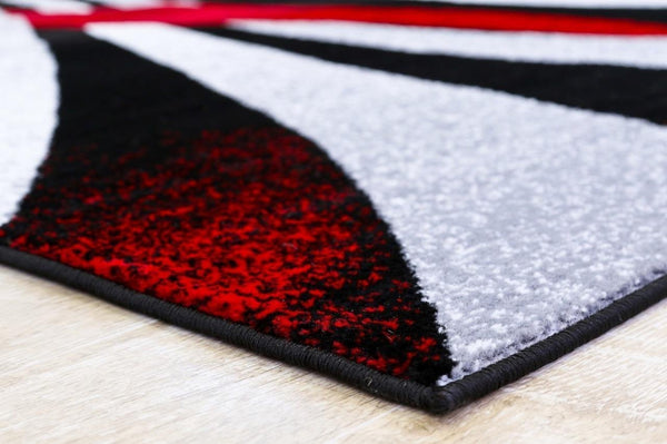2030 Red Black Contemporary Area Rugs