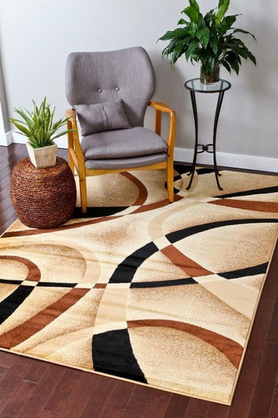 Modern Trendz Beige Black Swirls Contemporary Rugs