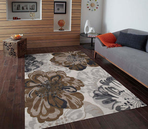 Ivory Floral Transitional Area Rugs