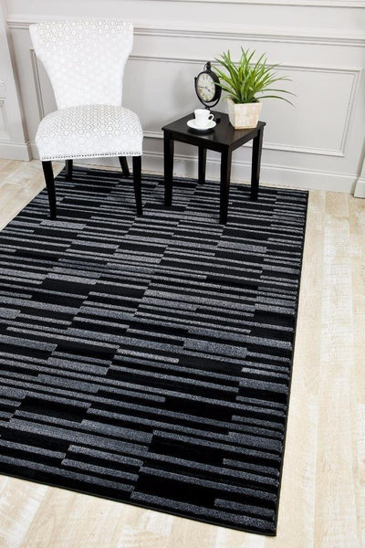 6158 Black Carved Contemporary Area Rugs