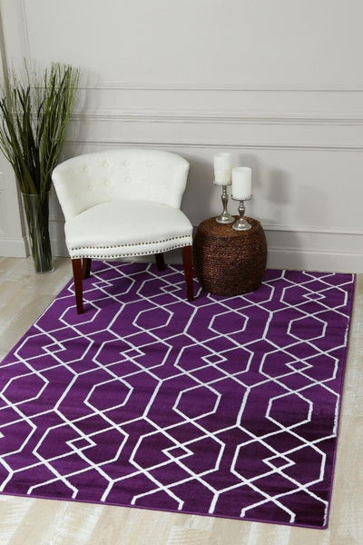 Beverly Hills Purple Modern Moroccan Trellis Rug Discount Area