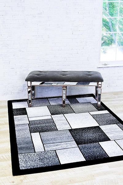 2094 Gray | Gray Black Contemporary Area Rugs