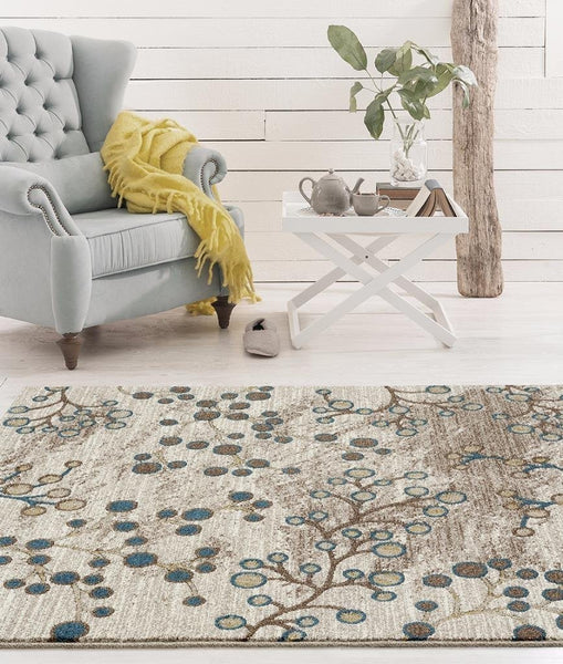 Beige Branches Design Area Rugs