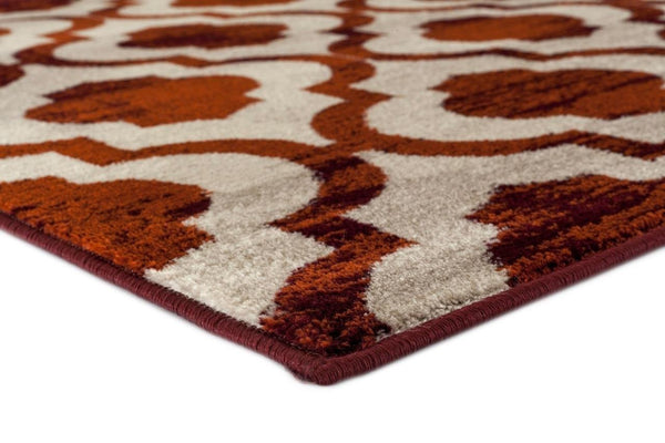 Red Beige Moroccan Trellis Distressed Area Rugs