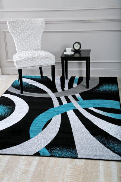 2030 Turquoise Contemporary Area Rugs