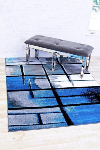 Gray Turquoise Contemporary Area Rugs