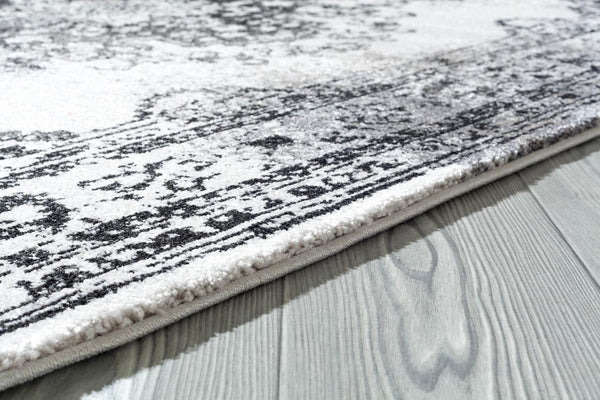 9313 White Anthracite Distressed Oriental Area Rugs