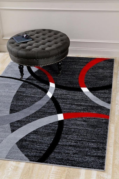 3958 Gray Red Contemporary Area Rugs