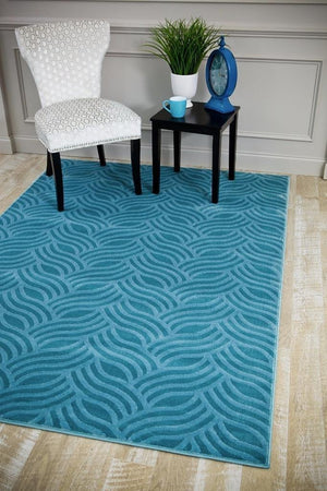 6156 Blue Carved Contemporary Area Rugs