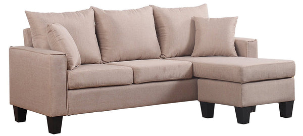New Century®Apricot Linen Fabric Sectional Sofa With Adjustable Chaise