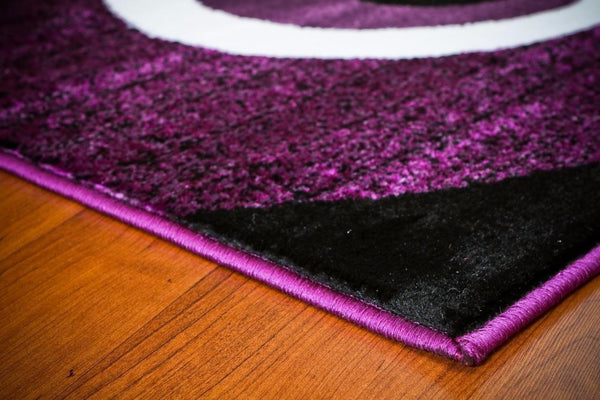 Purple Abstract Swirls Contemporary Area Rugs