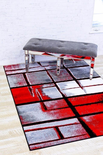 Gray Red Contemporary Area Rugs