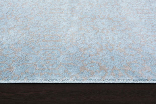Light Blue Damask Transitional Area Rugs