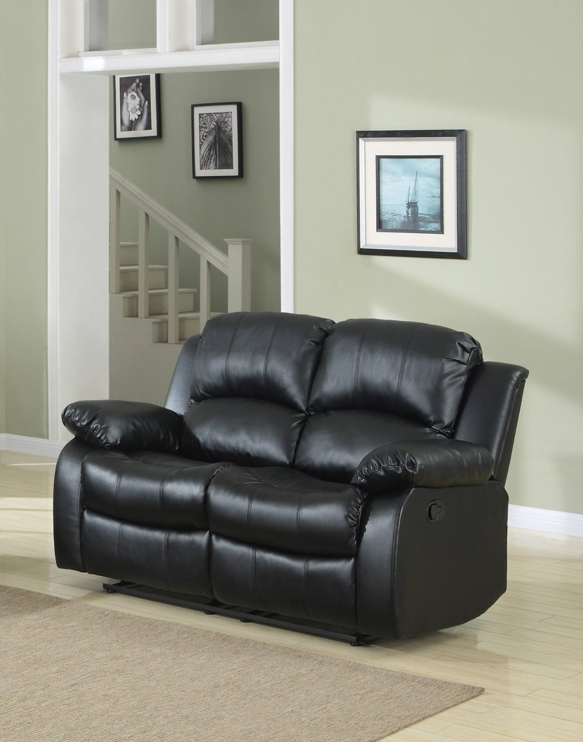 New Century® Black Bonded Faux Leather 2 Seater Recliner Chair