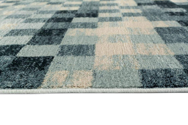 5554 Light Blue Tiles Design Contemporary Area Rugs