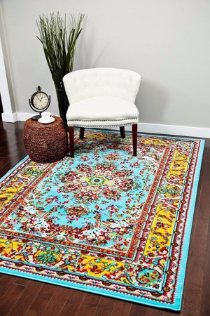 Blue Yellow Oriental Persian Isfahan Area Rugs