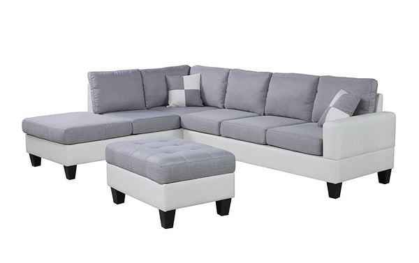 New Century® White & Light Gray Linen & Leather Bonded Leather Living Room Sectional