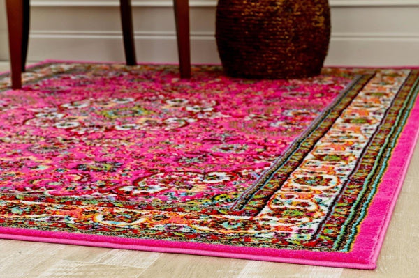 Pink Isfahan Oriental Medallion Traditional Area Rugs