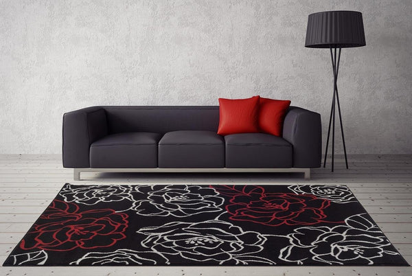 4248 Black Red Floral Contemporary Area Rugs