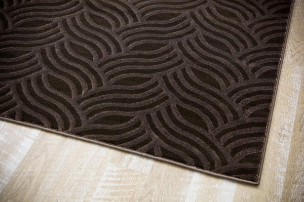 6156 Brown Carved Contemporary Area Rugs