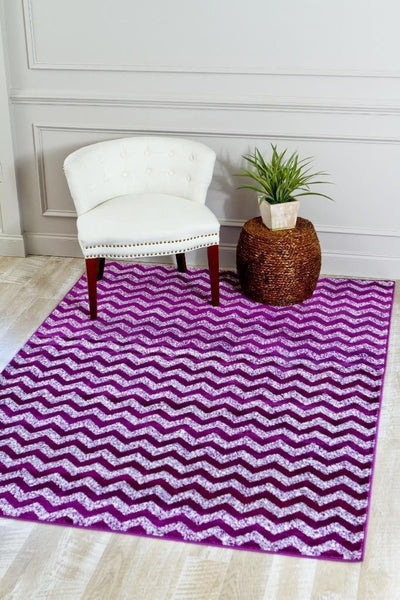 Purple Contemporary Wavy Design Modern Area Rugs