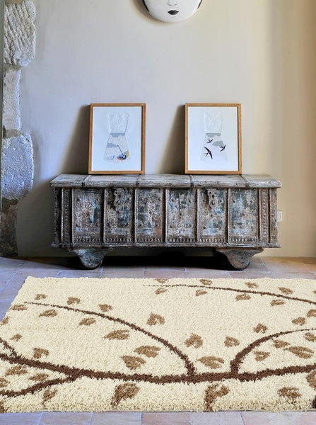 Beige Brown Branches Design Plush Shag Area Rugs