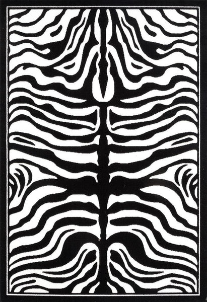 2028 Black Zebra Contemporary Area Rugs