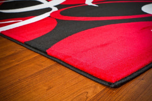Modern Trendz Black Red Contemporary Area Rugs