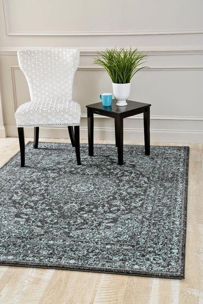 1232 Blue-Black Distressed Oriental Area Rugs
