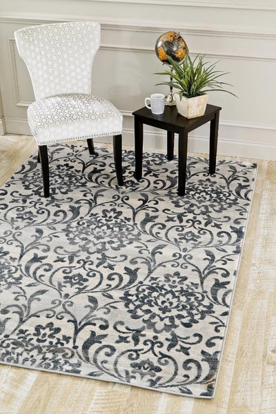 8501 Light Gray Damask Transitional Area Rugs
