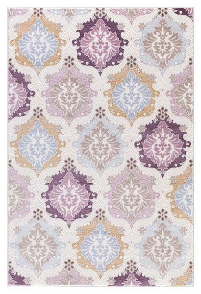Beige Purple Gold Damask Panal Transitional Area Rugs
