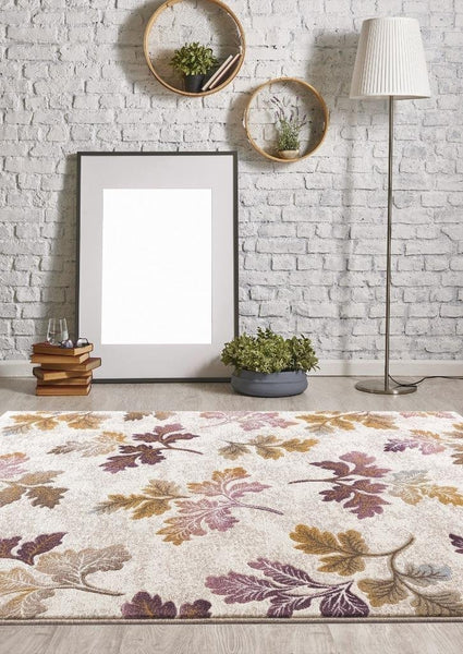 Ivory Floral Purple Gold Branches Transitional Area Rugs