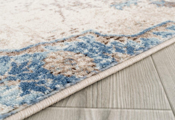 6570 Blue Ivory Persian Distressed Oriental Area Rugs