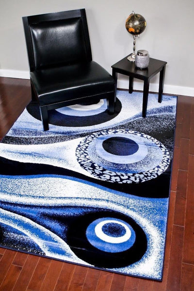 Blue Black Abstract Modern Trendz Contemporary Rugs