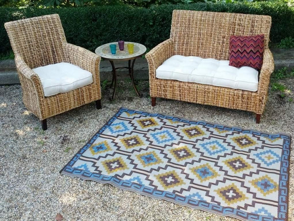 7114 Royal Blue & Brown Reversible Outdoor/Indoor Area Rugs