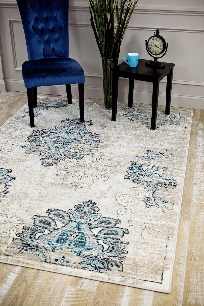 4475 Ivory Blue Damask Area Rugs