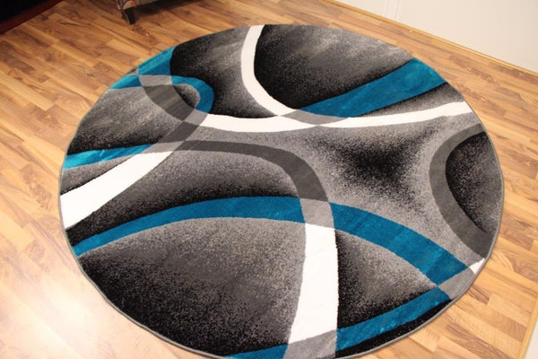 Gray Turquoise Swirl Abstract Contemporary Modern Rugs ( 6 Foot Round)