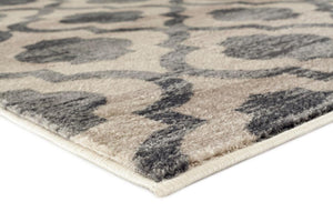 Gray Beige Moroccan Trellis Distressed Area Rugs
