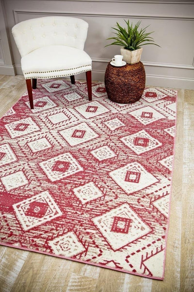 2702 Pink Abstract Contemporary Area Rugs